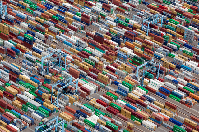 SHIPPING CONTAINERS, PORTSMOUTH, VIRGINIA, USA, 2011 Copyright © Alex MacLean,  Beetles+Huxley