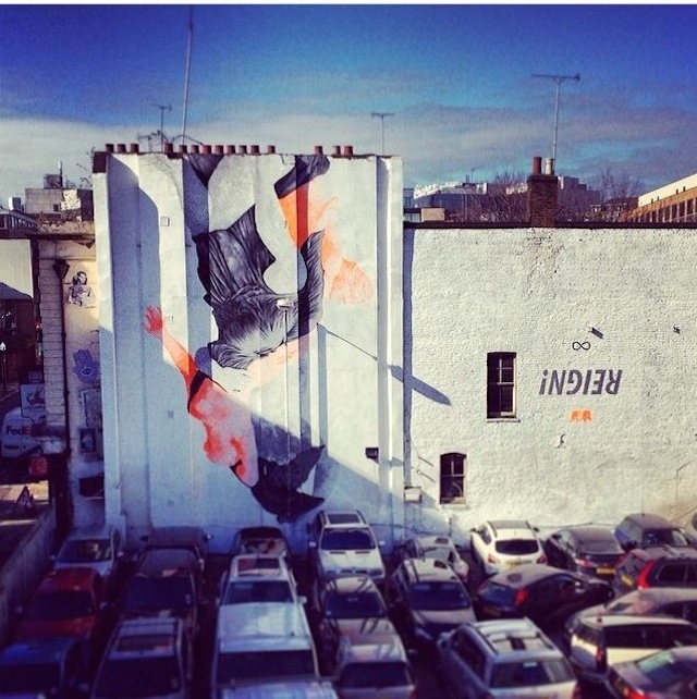 Cyrcle (USA): this is our most recent large-scale piece, organised with the help of Stolen Space Gallery and the artists themselves. It's an epic piece on the side of the Griffin pub featuring Greco-Roman statues painted upside down. The piece was painted by Rabbi from Cyrcle (a two-artist collective) using a giant projector – the amount of time he spent painting each individual dot on the piece was amazing. He really sacrificed for this piece. The Cyrcle show is on now at Stolen Space! Leonard Street opposite the Book Club – still there.