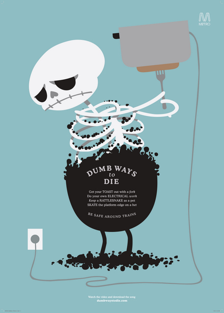 Metro trains, dumb ways to die - Designed by McCann Melbourne image by McCann Melbourne
