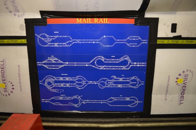 Diagram showing the track layouts of Mail Rail and its stations.