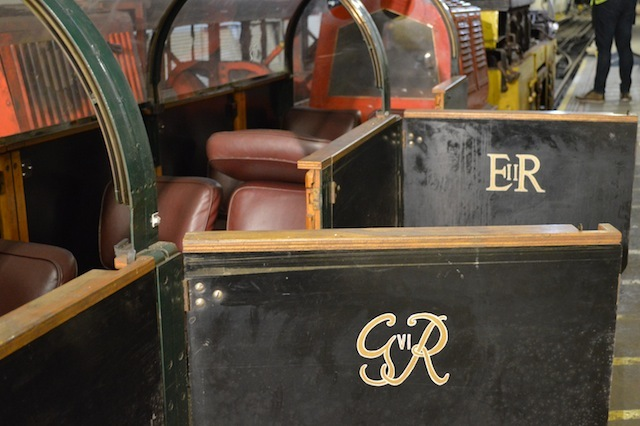 The passenger carriage carries the monograms of several monarchs. It can seat 18 passengers.