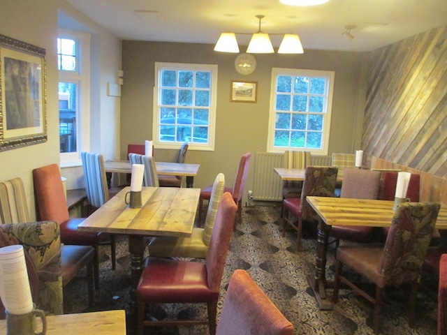 Most of the pub look a bit old, but the front room has a more modern twist (hence why no one's sitting in it).