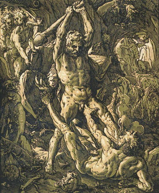 Hendrick Goltzius  Hercules Killing Cacus, 1588  Chiaroscuro woodcut printed from three blocks, the tone blocks in yellow and green, 41.1 x 33.3 cm  Collection Georg Baselitz  Photo Albertina, Vienna