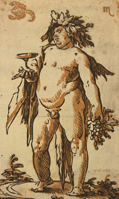 Hendrick Goltzius  Bacchus, c. 1589-90  Chiaroscuro woodcut printed from two blocks, the tone block in light brown,   23.8 x 14.3 cm  Collection Georg Baselitz  Photo Albertina, Vienna
