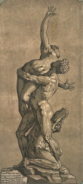 Andrea Andreani, after Giambologna  Rape of a Sabine Woman, 1584  Chiaroscuro woodcut printed from four blocks, the tone blocks in brown,   44.7 x 20.9 cm  Collection Georg Baselitz  Photo Albertina, Vienna