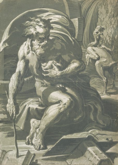Ugo da Carpi  Diogenes, early sixteenth century  Chiaroscuro woodcut; four blocks (green and blue); first state  47.8 x 34.3 cm  Private Collection  Photo Albertina, Vienna