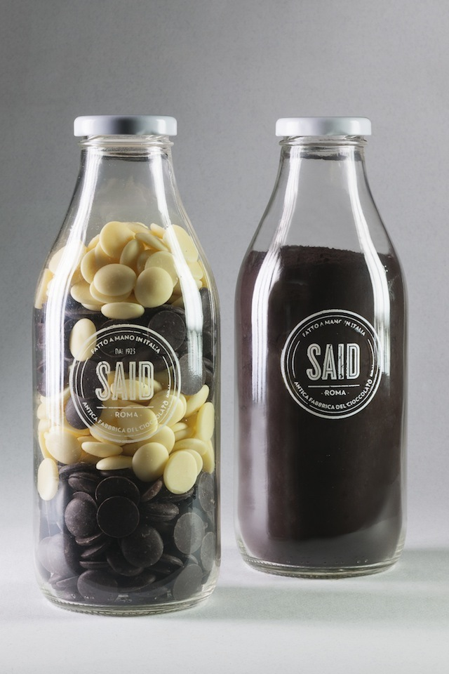 Chocolate in milk bottles