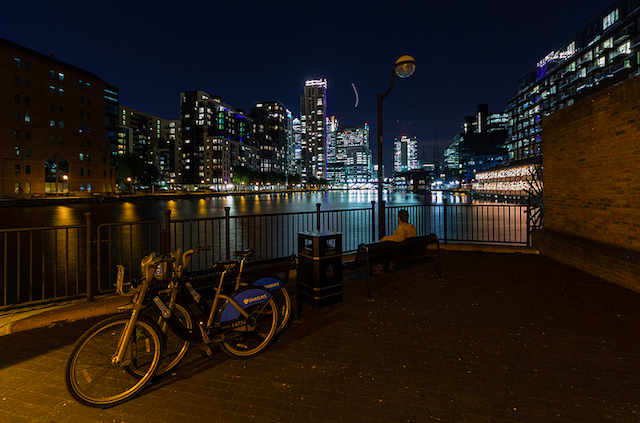 Millwall Inner Dock at night by Michael S. Schwarzer via Flickr