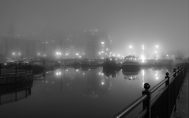 Foggy Poplar Dock at night by Gurpreet via Flickr