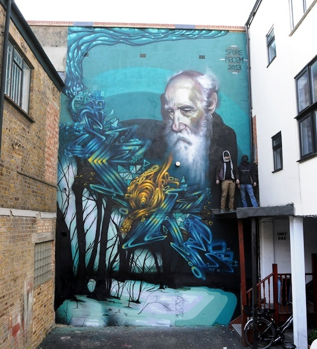 Spore and Macism (UK): at one point this mural looked doomed. Confusion between the landlord and the tenants coupled with highly suspect scaffolding gave us a start that was dodgier than a free kebab. Somehow the clouds parted and the painting began. For four days the two Scottish lads (who had driven from somewhere where spraypaint is normally brought in on a fishing boat) clambered up and down the scaffolding getting this done. It's a great mural. Near 23 Heneage Street – still there.
