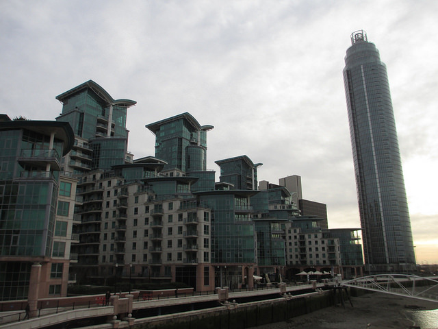 The Tower, One St George Wharf. The first big tower in the area is now almost complete and fully sold. It hit the headlines in 2012 when a helicopter collided with a construction crane, killing two. It stands 181 metres tall, making it the loftiest residential tower in London. It contains 274 homes, and was developed by St George.