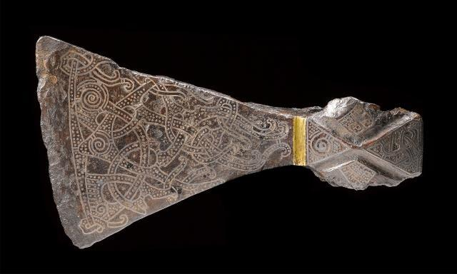 Silver-inlaid axehead in the Mammen style, AD 900s. Bjerringhoj, Mammen, Jutland, Denmark. Copyright of The National Museum of Denmark