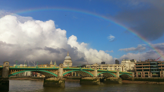 Rainbow over St Paul's cathedral and Southwark Bridge, by Jerry Clack on Flickr