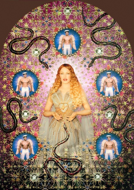 "The Virgin with the Serpents (Kylie Minogue), 2008 Virgins (or Madonnas) collection, ""Auréole"" gown. Haute couture spring/summer 2007 Sky blue pleated tulle gown with ""rays of light"" gold lame appliqués, long panels floating from the shoulders in the back Painted photograph, framed by the artists 181 x 137 cm (framed) Gallerie Jérome de Noimont, Paris © Pierre et Giles. Courtesy Gallery Jérome de Noimont, Paris"