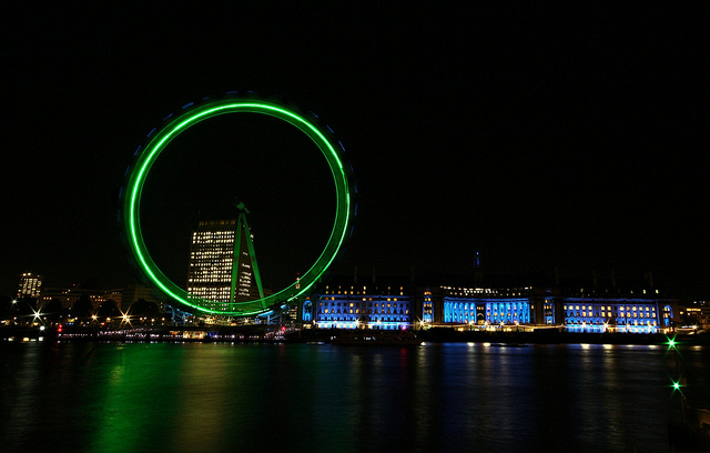 London Eye lighted in green, by Simon & His Camera on Flickr.