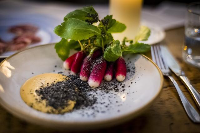 The Clove Club: radishes, black sesame and gochuchang / image supplied by the restaurant