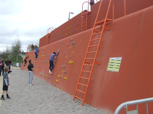Climbing Wall by City Mill River.