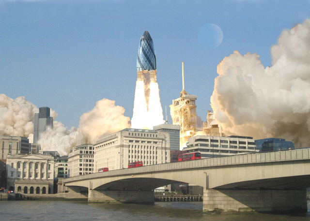 Pickles in space. The Gherkin blasts off in this image by wjfox2002 in 2007.