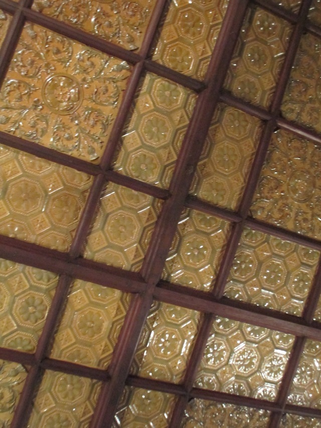 Shell-style ceiling. If you go upstairs, you can see all the tortoise legs poking out.