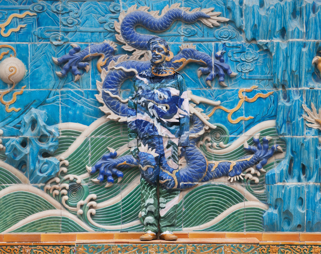 Liu Bolin, Dragon series - panel 4 of 9. Image courtesy of the artist and Scream