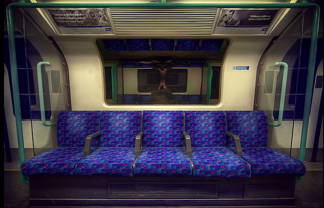 Selfie on the Waterloo & City Line, by Mike Murphy on Flickr