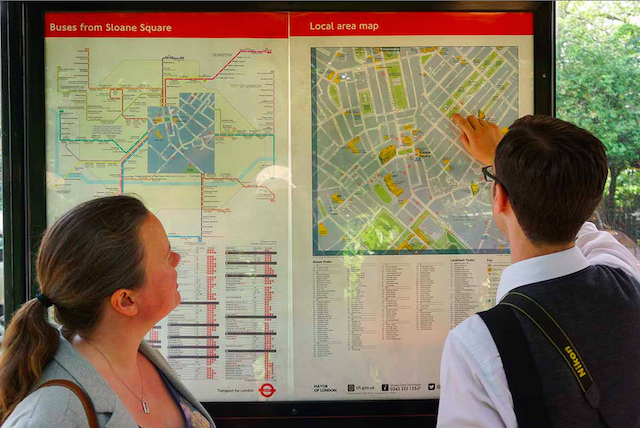 John and Lindsey try to work out if we have arrived at the solar powered bus stop in Eaton Square. Photo: McTumshie