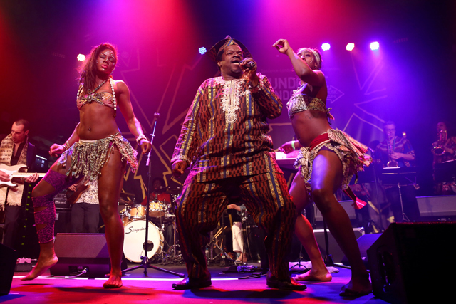 LONDON, ENGLAND - APRIL 27:  Dele Sosimi performs with the Afrobeat Orchestra during the Sundance London Film and Music Festival 2014 at 02 Arena on April 27, 2014 in London, England.  (Photo by Tim P. Whitby/Getty Images for Sundance London) *** Local Caption *** Dele Sosimi