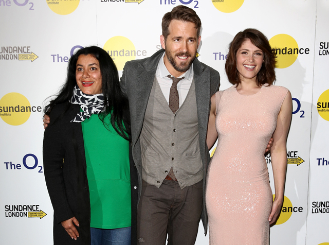 LONDON, ENGLAND - APRIL 26:  Director Marjane Satrapi (L) and actors Ryan Reynolds and Gemma Arterton attend 'The Voices' screening during the Sundance London Film and Music Festival 2014 at 02 Arena on April 26, 2014 in London, England.  (Photo by Tim P. Whitby/Getty Images for Sundance London) *** Local Caption *** Ryan Reynolds; Gemma Arterton; Marjane Satrapi