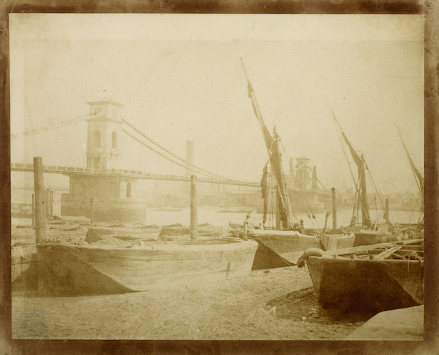 Hungerford Bridge c.1845. Photograph by William Henry Fox Talbot,  Museum of London ref IN4788