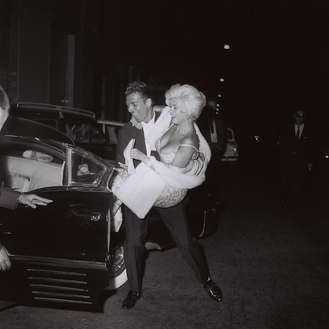 "Jayne Mansfield and Mike Hargitay leaving ""Piccola Budapest"", Rome, October 1962, by Marcello Geppetti, MGMC & Solares Fondazione delle Arti"