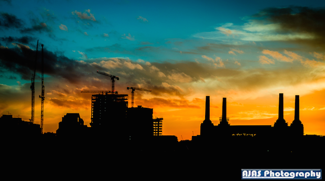 Battersea at sunset by Andy Searle