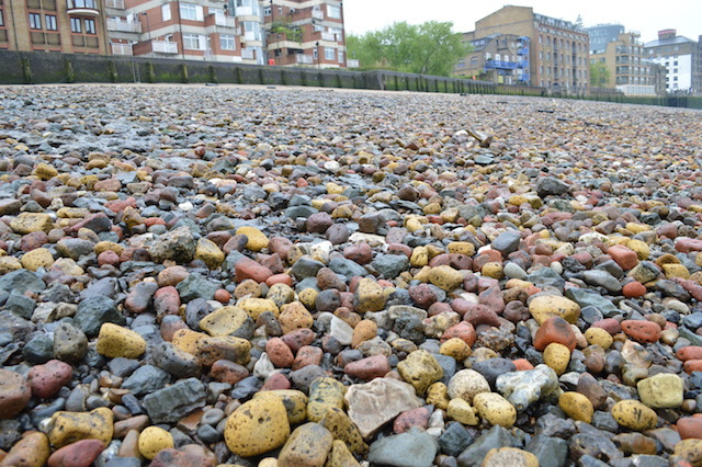 These colourful stones are actually Blitz rubble -- old bricks dumped in the Thames and worn down by time.