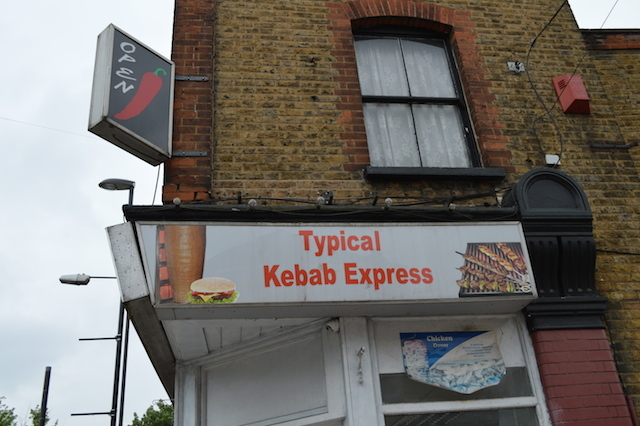 The pub offers views of London's least boastful kebab shop.