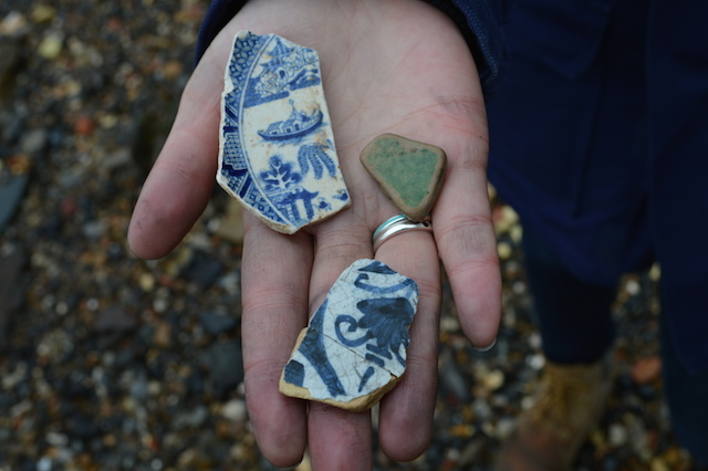 Pottery sherds are another common find. The green piece here is probably medieval while the delftware is perhaps Victorian.