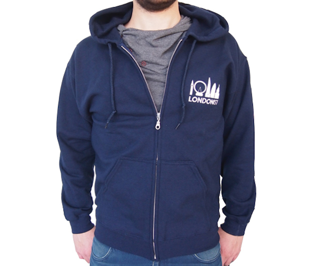Londonist hoodie, available in blue navy
