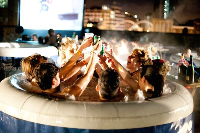 Watch Films In A Hot Tub On A Train Platform