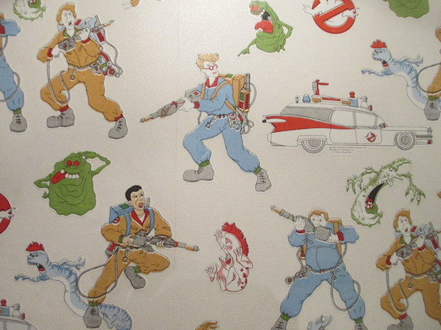 Real Ghostbusters wallpaper. Last seen on our bedroom wall circa 1990.