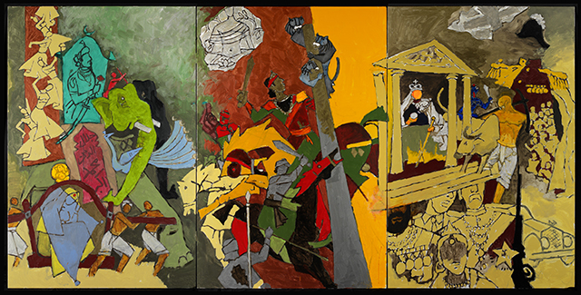 Triptych painting from The Indian Civilization Series - Three Dynasties;  by Maqbool Fida Husain (1915 - 2011);  Indian;  2008 - 11. Oil on canvas.