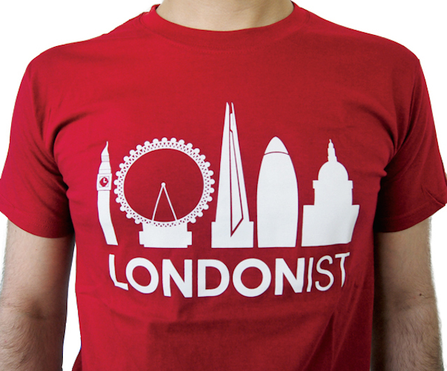 Londonist t-shirt, available both in cardinal red and indigo blue