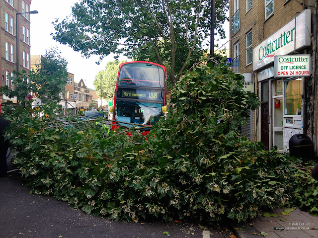 A bus crashing into a tree back in 2012. Photo by Rob Telford