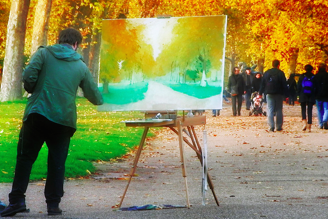 Painting trees in Kensington Gardens, photo by Where The Art Is on Flickr