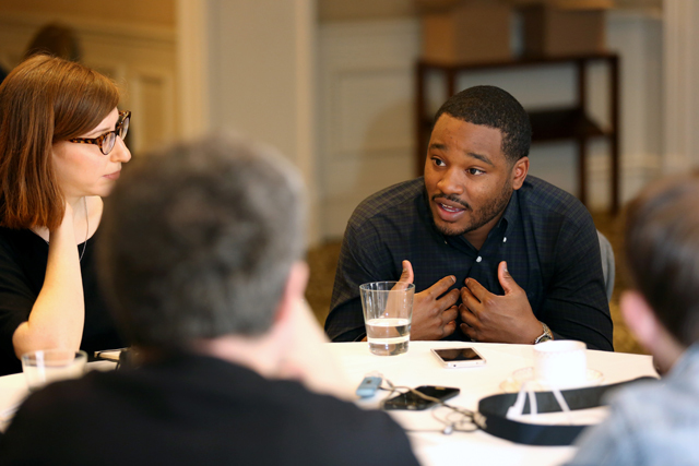 LONDON, ENGLAND - APRIL 24:  Director Ryan Coogler (R) attends the Film Maker & Press Breakfast during the Sundance London Film and Music Festival 2014 at The Langham Hotel on April 24, 2014 in London, England.  (Photo by Tim P. Whitby/Getty Images for Sundance London) *** Local Caption *** Ryan Coogler