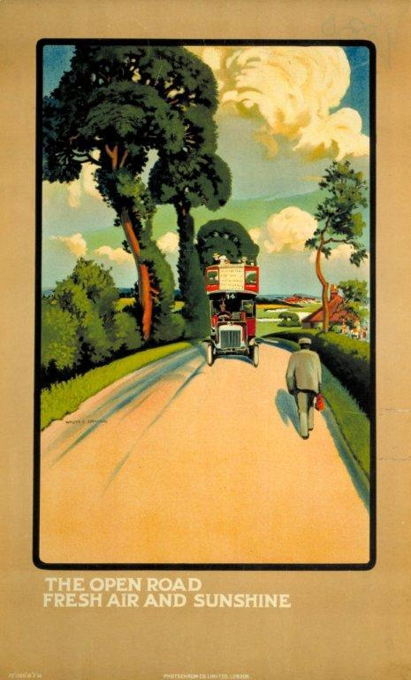 The Open Road - Fresh Air and Sunshine, by Walter E Spradbery, 1914 (Poster) copyright TfL