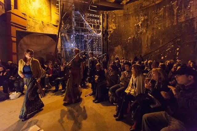 Kosmos Ensemble play in the Thames Tunnel shaft at the Brunel Museum in Rotherhithe, South East London on 18 October 2012. Harriet Mackenzie (violin), Meg Hamilton (viola) and Miloš Milivojević (accordion).