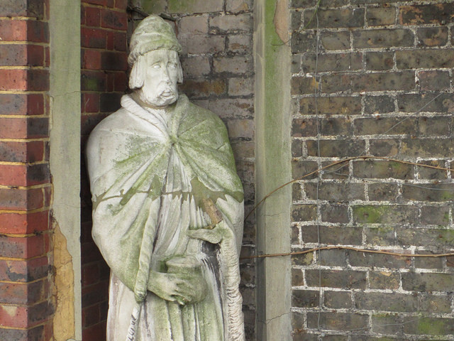 WOEBEGONE: Is this London's saddest statue? The unidentified gentleman cowers in a niche within the gardens of Holland Park. No wonder he's maudlin. His robes are bespattered with algae, and his chosen headgear looks like it was exhumed from the grave of a flapper.