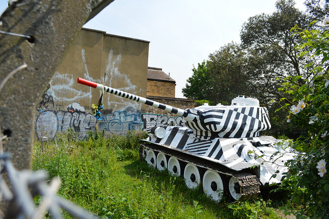 'Stompie' theSoviet T34  tank can be found at the southern end of Page's Walk in Borough. Its gun is supposedly aimed at Southwark Council. The story goes that the local landowner failed to get planning permission for a new development. In retaliation, he applied for new permission, this time to install a 'tank'. The council assumed he meant some kind of water tank and approved the plans. To everyone's surprise, this oft-repainted military tank appeared instead. Sounds a bit fishy to us, but a good story nonetheless.