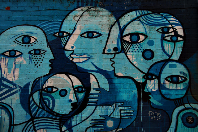 Blue street art in Shoreditch, photo taken back in 2012 by Richard Watkins LRPS