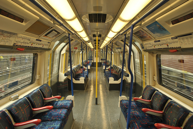 A tube carriage on the Piccadilly Line. Photo by Amanda Vincent-Rous