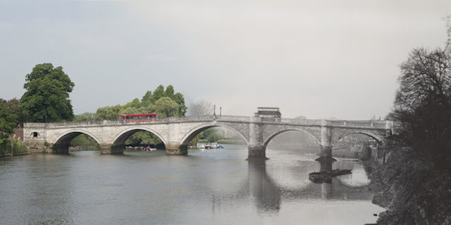 Hybrid Image: Richmond Bridge, 1930, by Albert Gravely Linney. Today the Museum of London Docklands released 16 hybrid photographs showing 'then and now' views of London and its most iconic bridges across the ages. The 16 ghostly images, which juxtapose historic views with their present day perspective, have been created using photographs showcased in Museum of London Docklands' new art exhibition Bridge, opening on Friday 27 June.