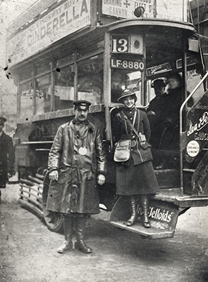 A driver and female conductor. Copyright TfL